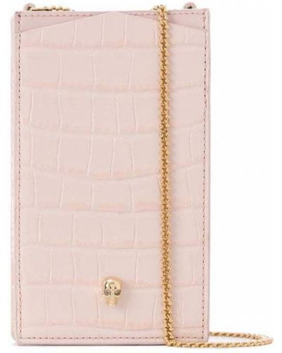Золотистый розовый кожаный футляр для очков Alexander Mcqueen