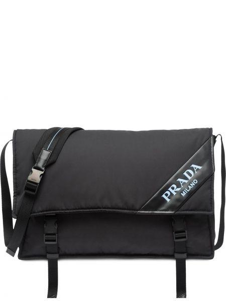 Czarna torebka duża skórzana oversize Prada