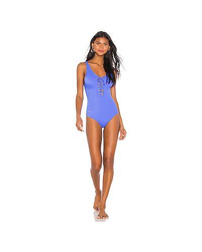 Слитный купальник со шнуровкой синий Maaji