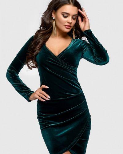 Коктейльное платье весеннее зеленый 1001dress