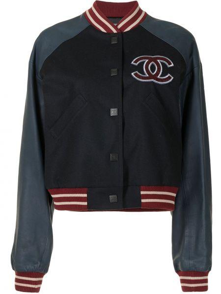 Синяя бейсбольная спортивная куртка с нашивками Chanel Pre-owned