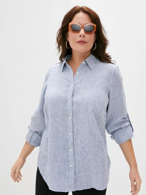 Синяя рубашка с длинными рукавами Lauren Ralph Lauren Woman
