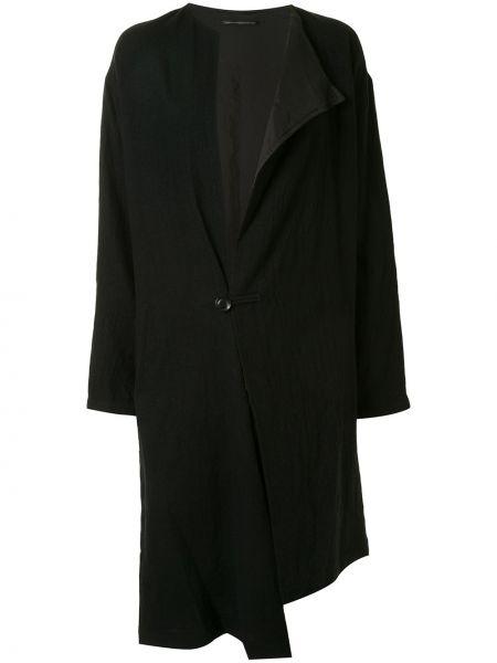 Асимметричное шерстяное черное длинное пальто Y's