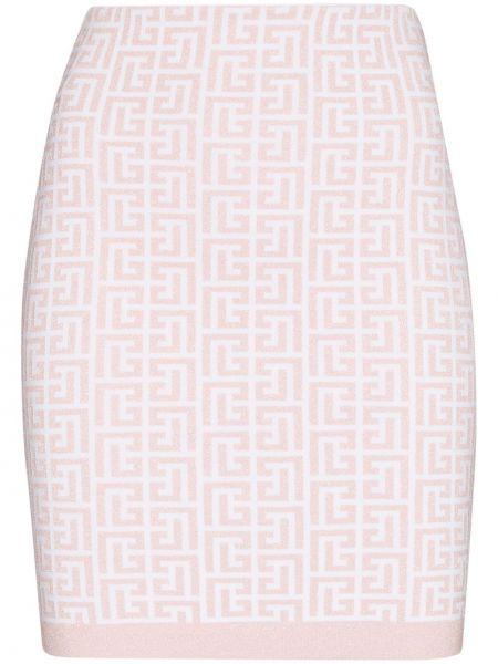 Розовая юбка из вискозы Balmain