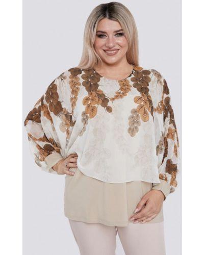 Бежевая блузка с длинным рукавом с длинными рукавами Luxury Plus
