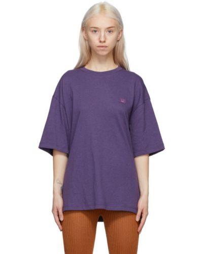 Фиолетовая трикотажная футболка с воротником Acne Studios