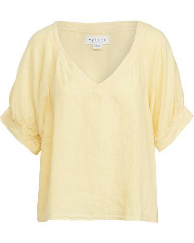 Льняная блузка с V-образным вырезом стрейч Velvet