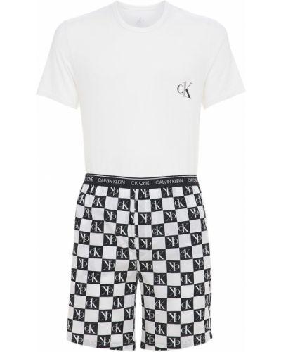 Biała piżama bawełniana z printem Calvin Klein Underwear