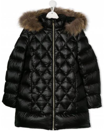 Черное пуховое длинное пальто с опушкой Treapi