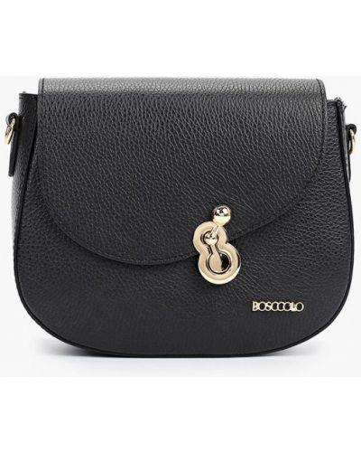 Кожаная сумка через плечо - черная Bosccolo