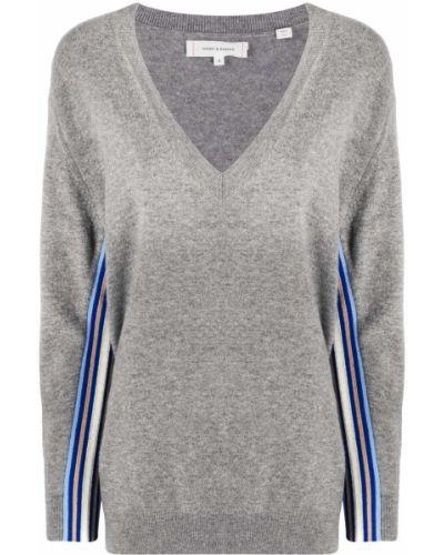 Шерстяной серый джемпер с V-образным вырезом в рубчик Chinti & Parker