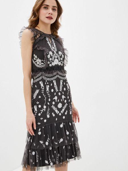 Вечернее платье серое весеннее Frock And Frill