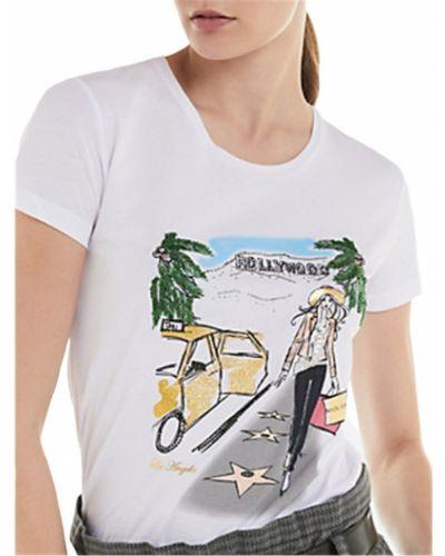 Bawełna z rękawami t-shirt z aplikacjami Patrizia Pepe