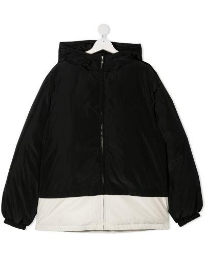 Классическая черная куртка с капюшоном на молнии с перьями Marni Kids