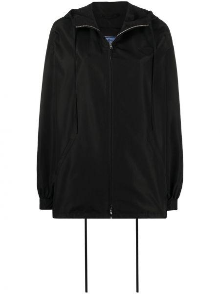 Черная куртка с капюшоном с вышивкой на молнии с карманами Prada