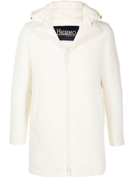 Biały prosto wełniany długi płaszcz z długimi rękawami Herno