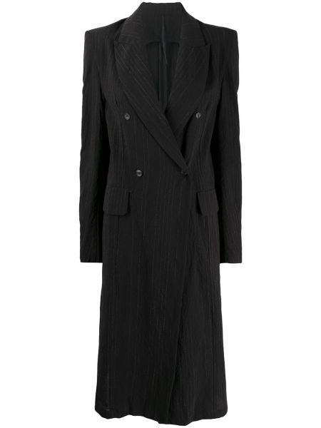Шерстяное черное длинное пальто с капюшоном Masnada