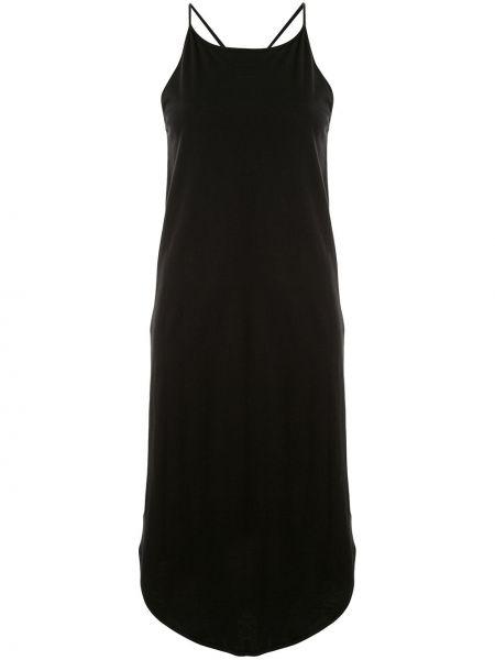 Черное платье миди на бретелях без рукавов с вырезом Taylor
