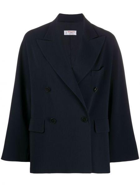 Синее пальто классическое с капюшоном двубортное Alberto Biani