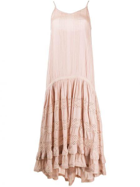 Sukienka różowa z dekoltem w serek Mes Demoiselles