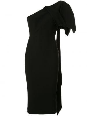 Черное платье миди на молнии с бантом узкого кроя Alex Perry