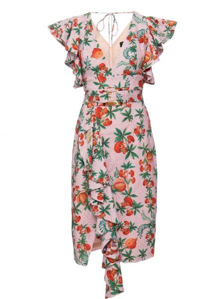 Розовое платье с запахом с V-образным вырезом с оборками Patbo