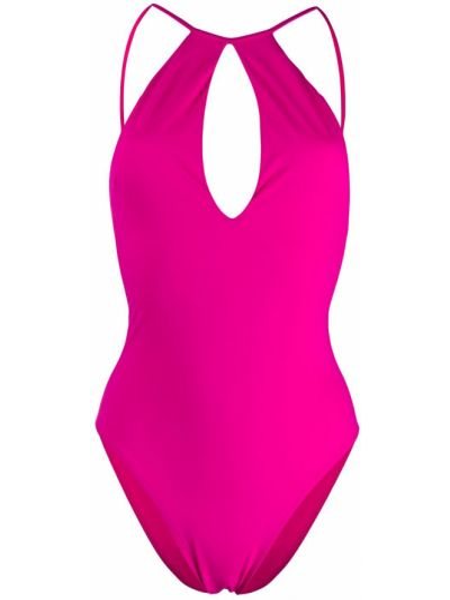 Розовый слитный купальник с вырезом без рукавов эластичный Sian Swimwear