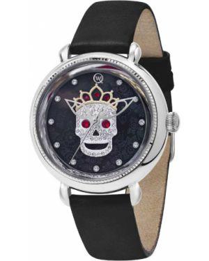 Часы на кожаном ремешке черные со стразами Qwill