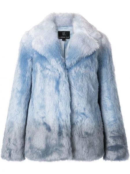 Синяя пальто классическое из искусственного меха с лацканами Unreal Fur