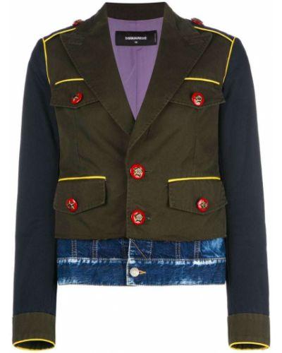 Джинсовая куртка длинная милитари Dsquared2