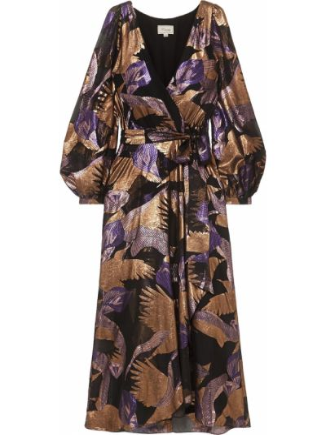 Шелковое черное платье миди с подкладкой Temperley London