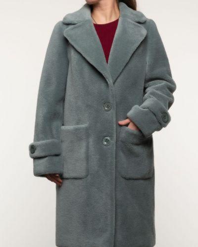 Зеленое шерстяное пальто с воротником Alcato