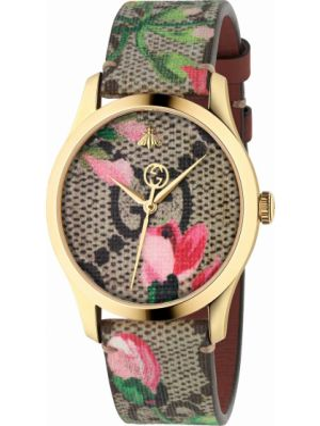 Городские текстильные с ремешком бежевые кварцевые часы Gucci