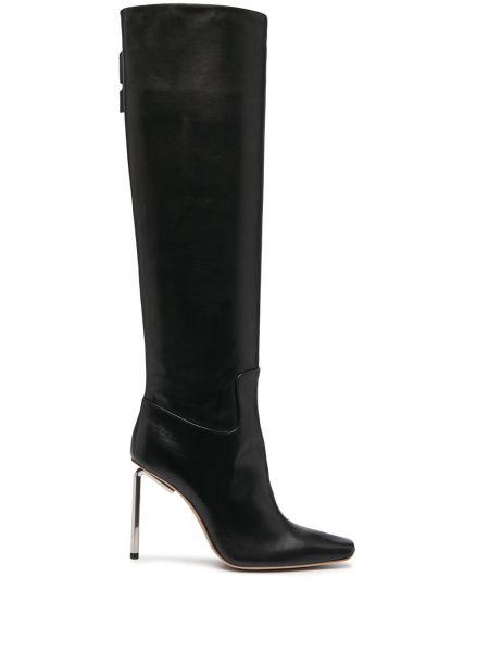 Skórzany biały buty na wysokości w połowie kolana na pięcie Off-white