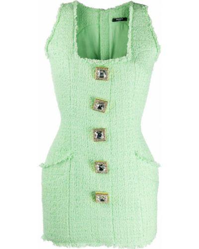 Bawełna zielony sukienka mini z kieszeniami Balmain