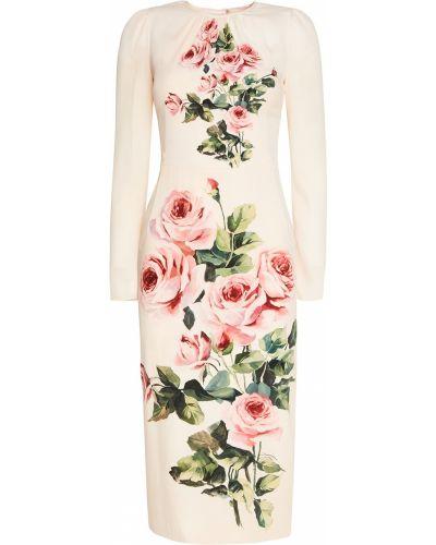 Платье миди прямое с розами Dolce&gabbana