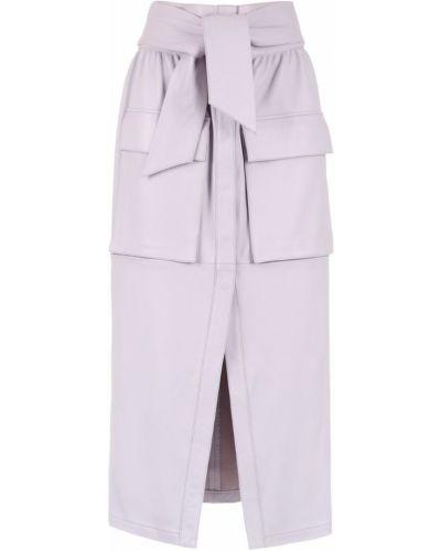 Фиолетовая юбка миди с карманами в рубчик Cruise
