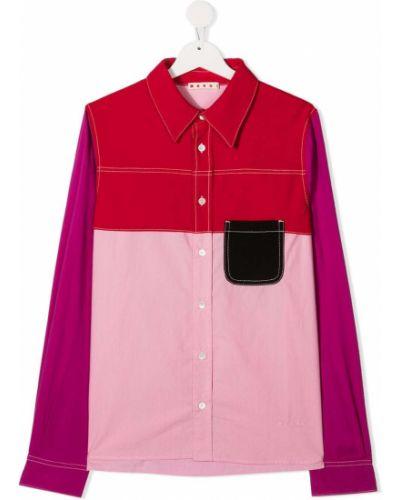 Хлопковая розовая рубашка с карманами на пуговицах Marni Kids