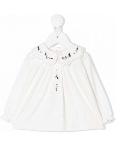 Bluzka koronkowa z długimi rękawami - biała Tartine Et Chocolat
