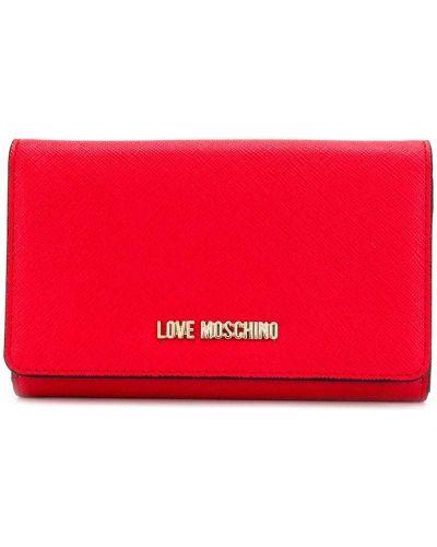 Кошелек на молнии красный Love Moschino