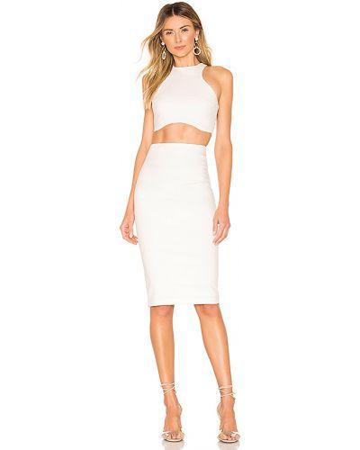 Beżowy nylon bawełna sukienka midi z zamkiem błyskawicznym Superdown