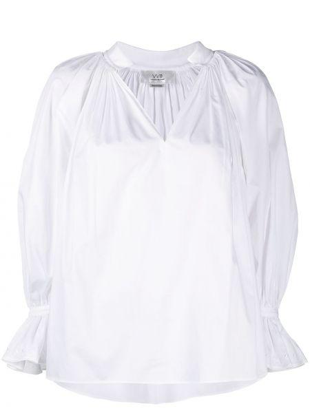 С рукавами белая блузка с вышивкой Victoria, Victoria Beckham