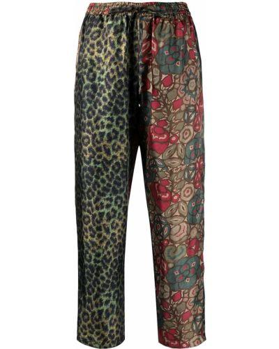 Шелковые прямые зеленые укороченные брюки Pierre-louis Mascia