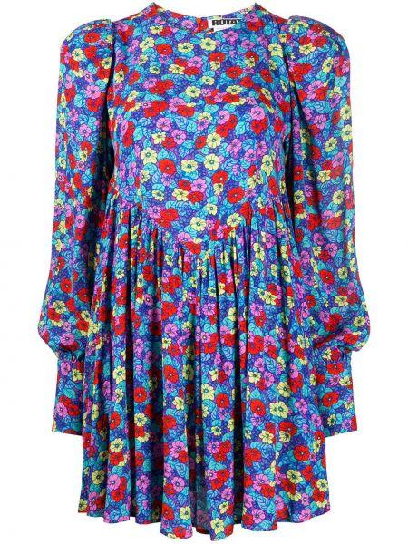 Облегающее платье с цветочным принтом синее Rotate
