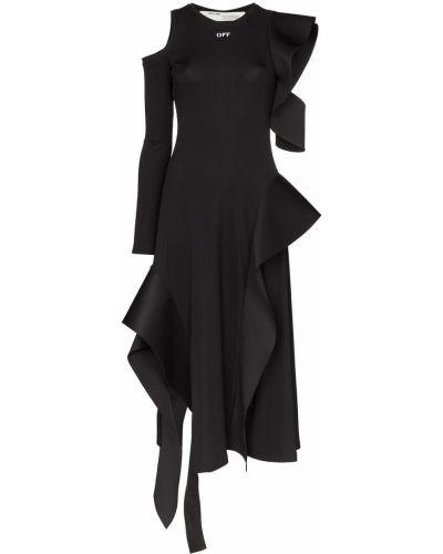 Платье миди из штапеля через плечо Off-white