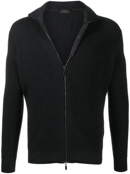 С рукавами шерстяной черный кардиган Dell'oglio
