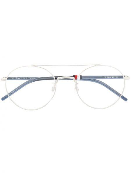 Серебряные очки авиаторы металлические прозрачные Tommy Hilfiger