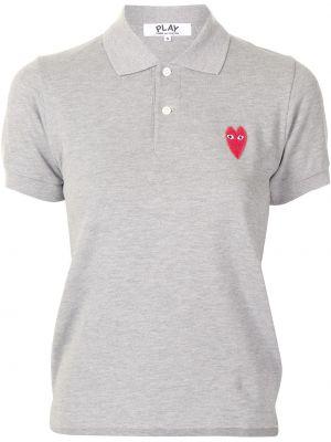 Хлопковая серая с рукавами рубашка Comme Des GarÇons Play