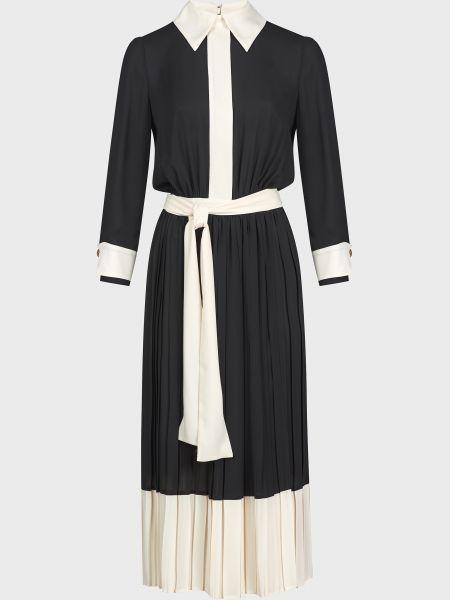 Платье с поясом - черное Elisabetta Franchi