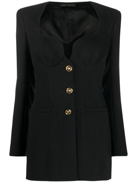 Черный приталенный пиджак с карманами Versace
